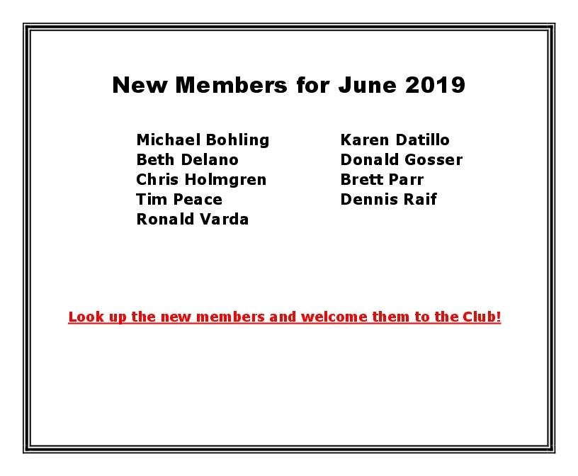 New Members for June 2019