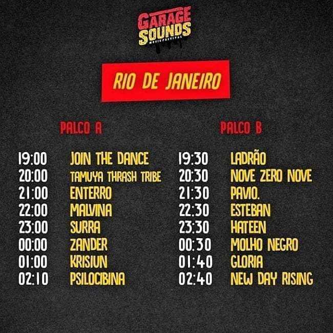 Horarios dos shows Garage RJ