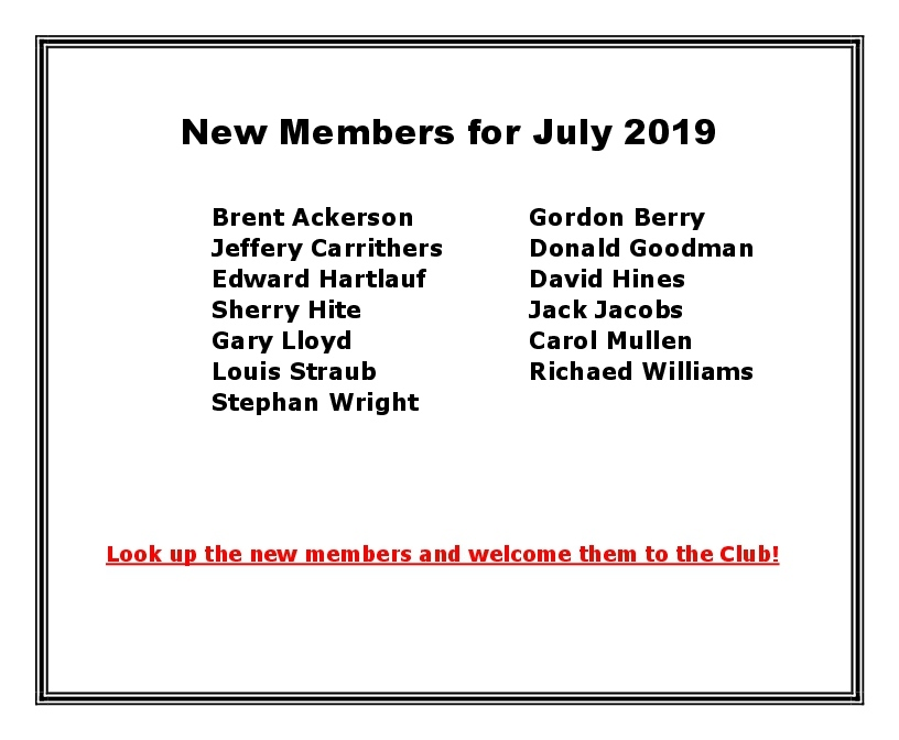 New Members for July 2019