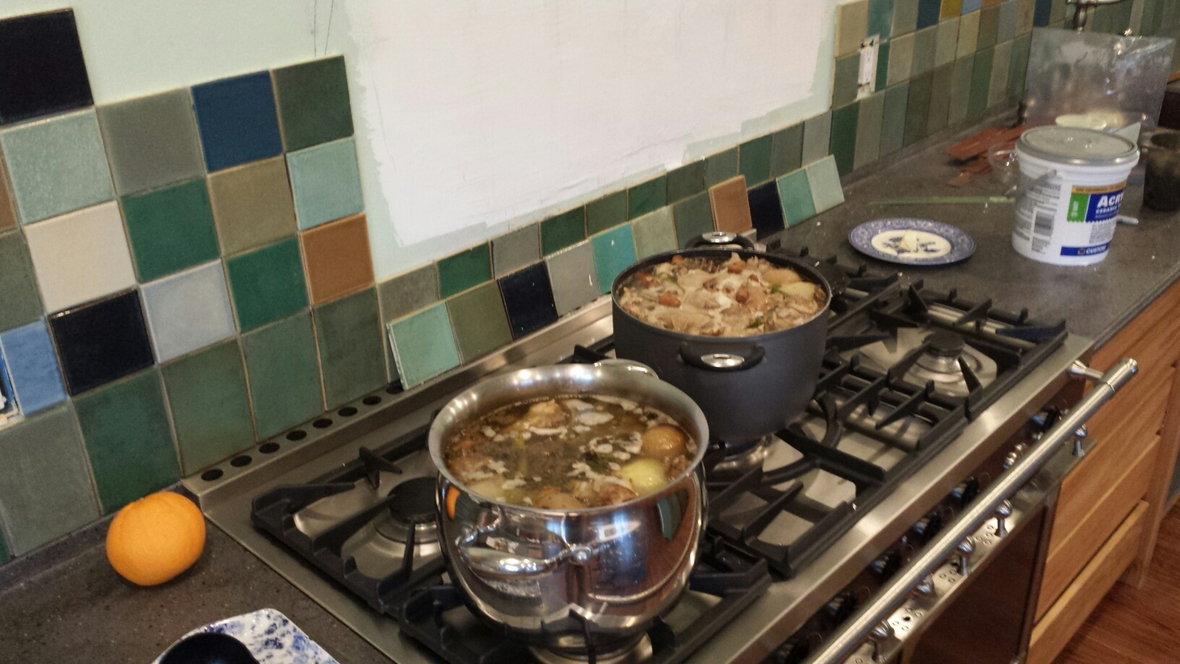 stock pots on the stove