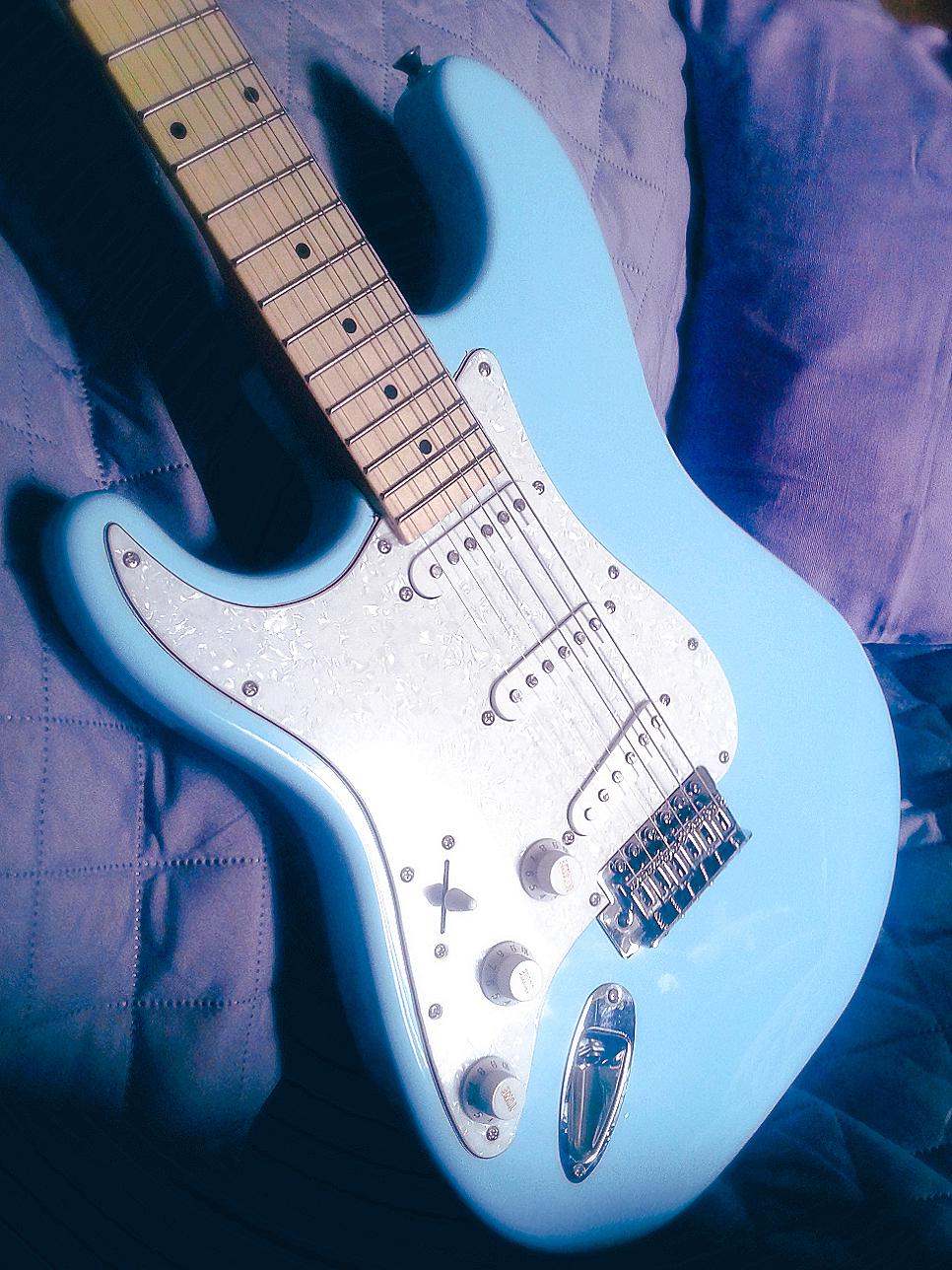 Blue Left Handed Guitar