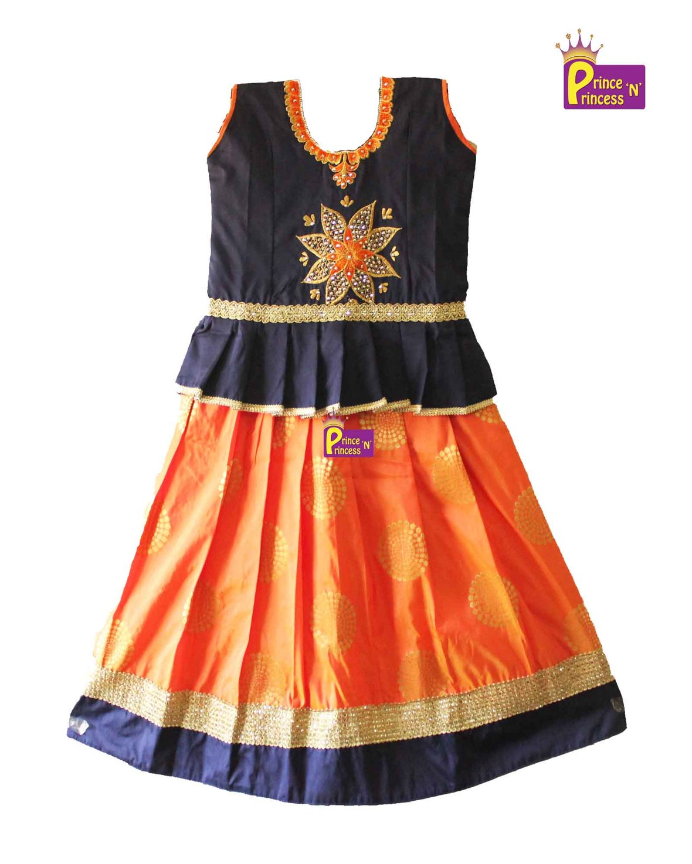 68fa7a6ff1edc Blue and orange pattu langa jpg 1180x1475 Latest pattu langa designs