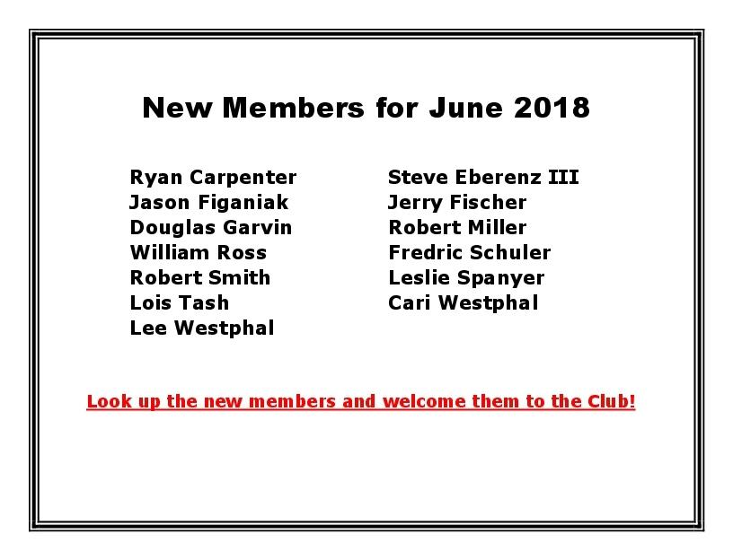 New Members for June 2018