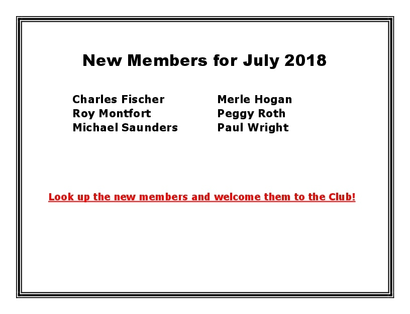 New Members for July 2018