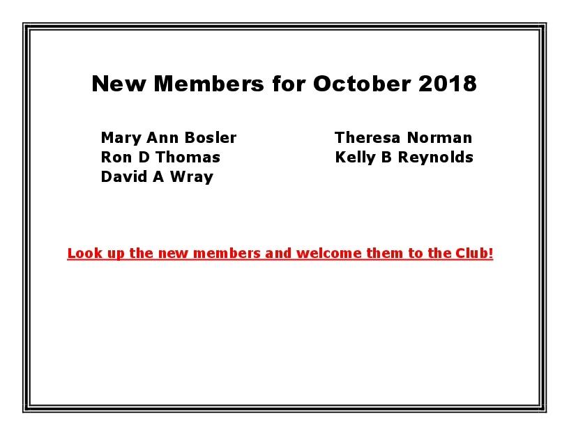 New Members for October 2018