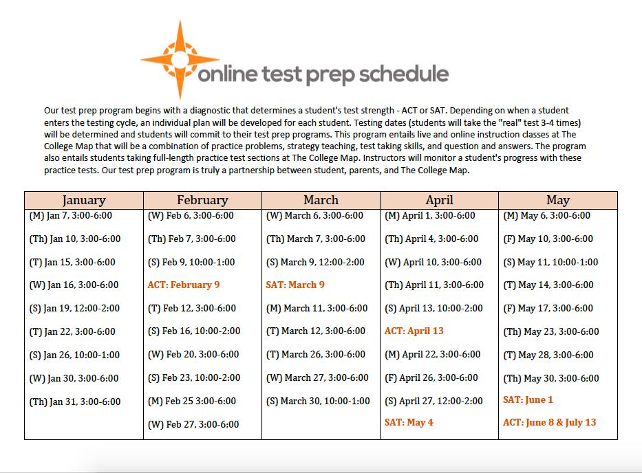 Online Test Prep Calendar