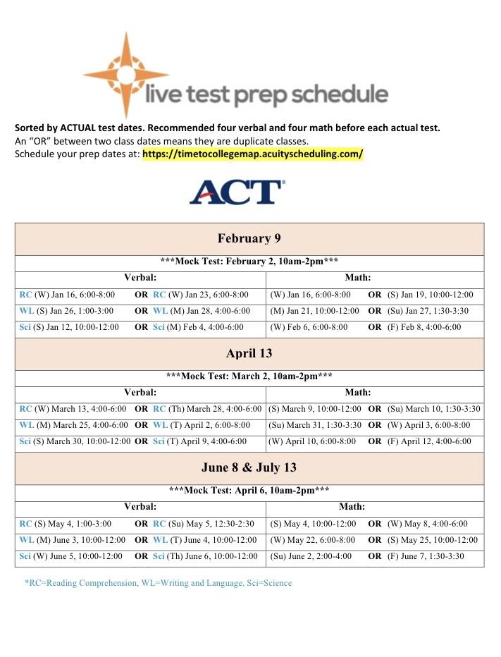 ACT Test Prep Calendar