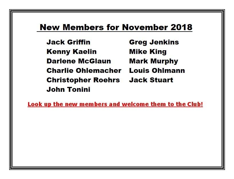 New Members for November 2018