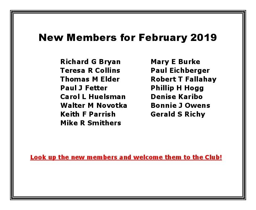 New Members for February 2019