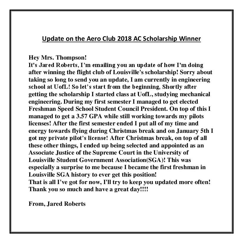 Update on the Aero Club 2018 AC Scholarship Winner