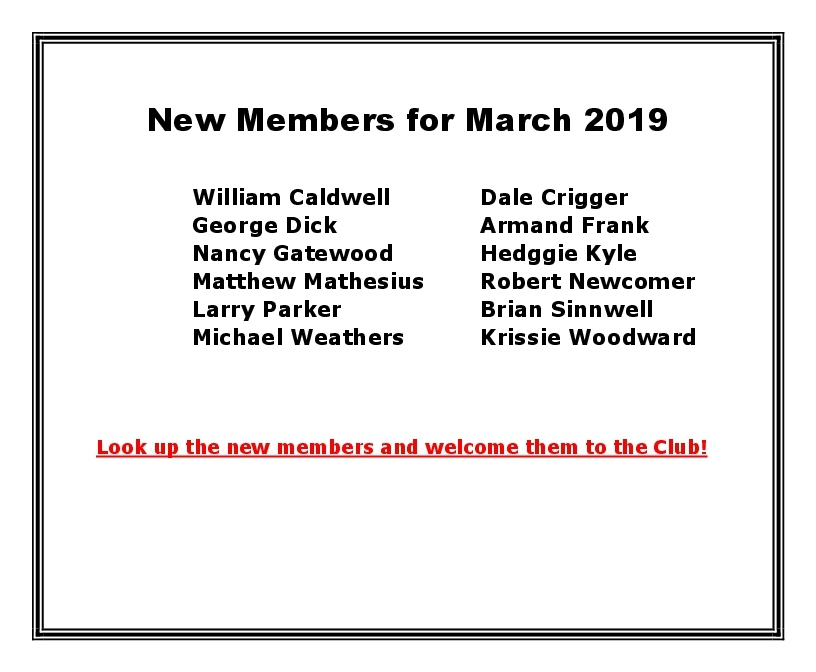 New Members for March 2019