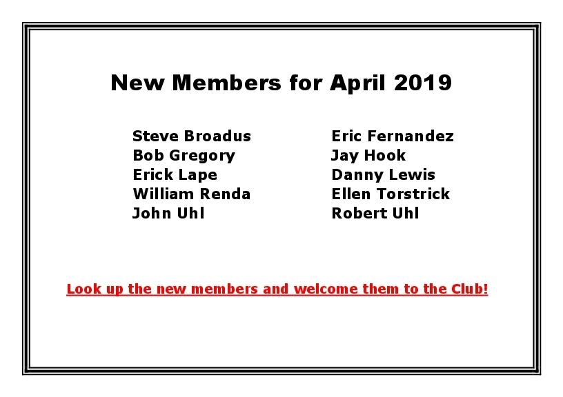 New Members for April 2019