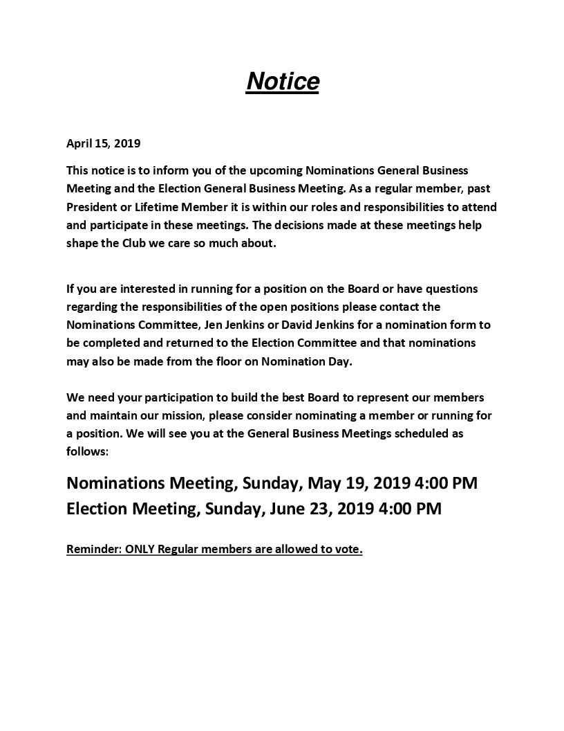 Board Nomination Announcement 2019
