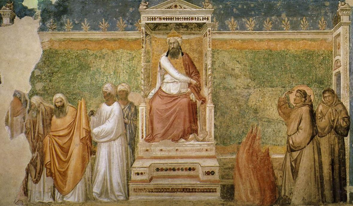 Giotto di Bondone - Scenes from the Life of Saint Francis - 6. St Francis before the Sultan Trial by Fire - WGA09313
