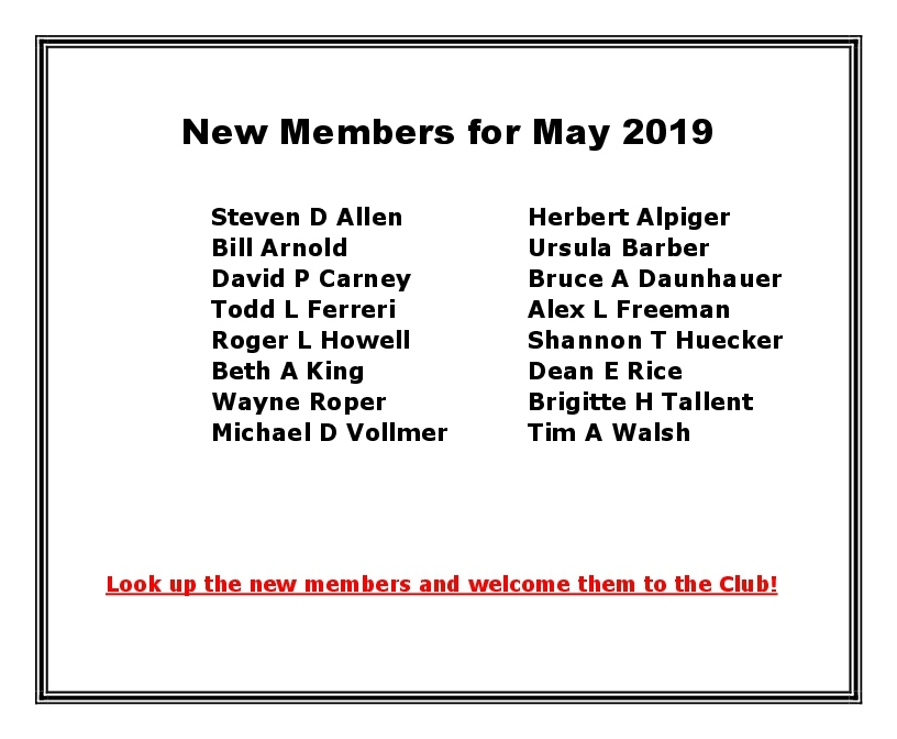 New Members for May 2019
